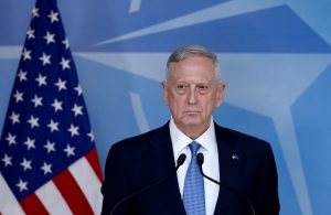 Defence Secretary Jim Mattis briefs the media during a NATO defence ministers meeting at the Alliance's headquarters in Brussels, Belgium. Photo by Francois Lenoir/Reuters