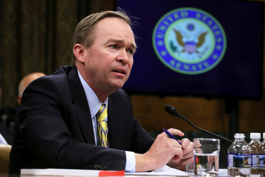 Rep. Mick Mulvaney (R-S.C.) testifies before a Senate Budget Committee confirmation hearing on his nomination of to be director of the Office of Management and Budget in Washington, D.C. in January. Photo by Carlos Barria/Reuters
