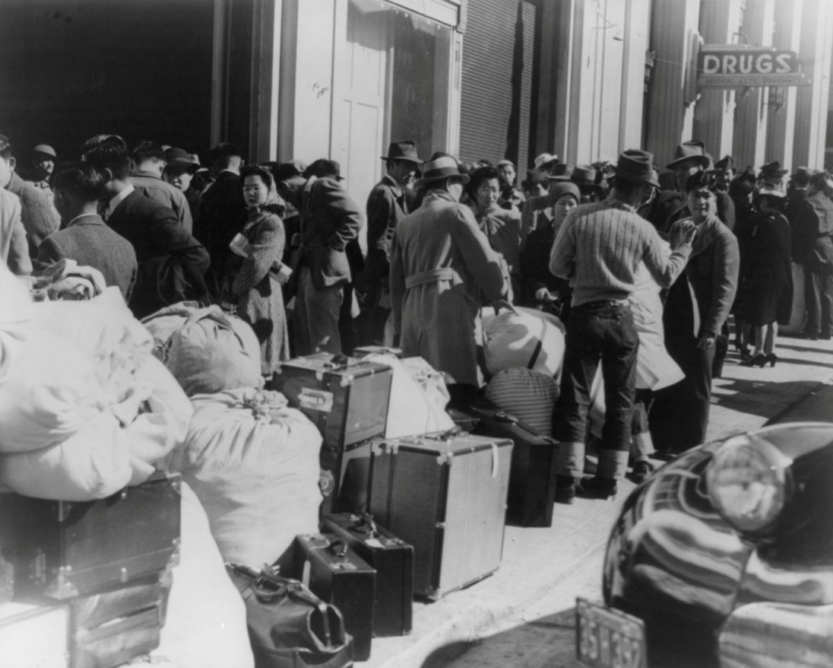 Residents of Japanese ancestry awaiting the bus at the Wartime Cvili Control station in San Francisco, in this April 1942 handout photo. February 19, 2017 marks the 75th anniversary of FDR signing executive order 9066, authorizing the internment of Japanese Americans during World War Two. Courtesy Dorothea Lange/Farm Security Administration and Office of War Information Collection/Library of Congress/Handout via REUTERS ATTENTION EDITORS - THIS IMAGE WAS PROVIDED BY A THIRD PARTY. EDITORIAL USE ONLY. - RTSZ5LO