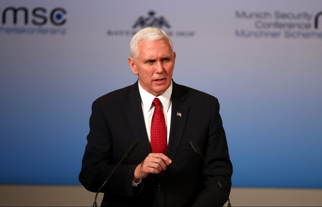 U.S. Vice President Mike Pence delivers his speech during the 53rd Munich Security Conference in Munich, Germany, February 18, 2017. REUTERS/Michael Dalder - RTSZ8IT