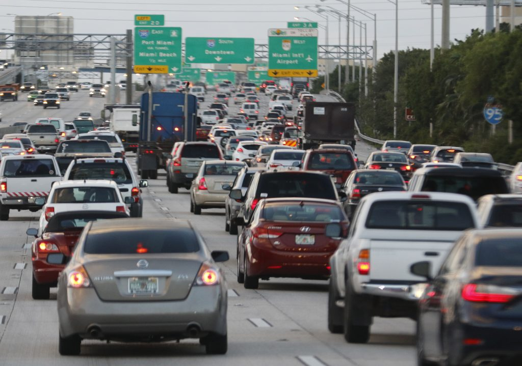 Rush hour traffic is shown on I-95 in Miami, Florida. Photo by Joe Skipper/Reuters