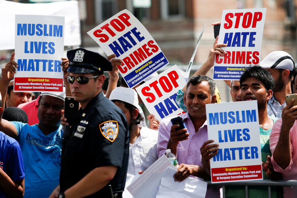 Community members take part in a protest to demand stop hate crime during the funeral service of Imam Maulama Akonjee, and Thara Uddin in the Queens borough of New York City, Aug. 15, 2016. Photo by Eduardo Munoz/Reuters