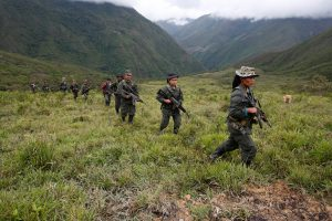 Members of the 51st Front of the Revolutionary Armed Forces of Colombia (FARC) patrol in the remote mountains of Colombia, August 16, 2016. Picture taken August 16, 2016. Photo By John Vizcaino Reuters