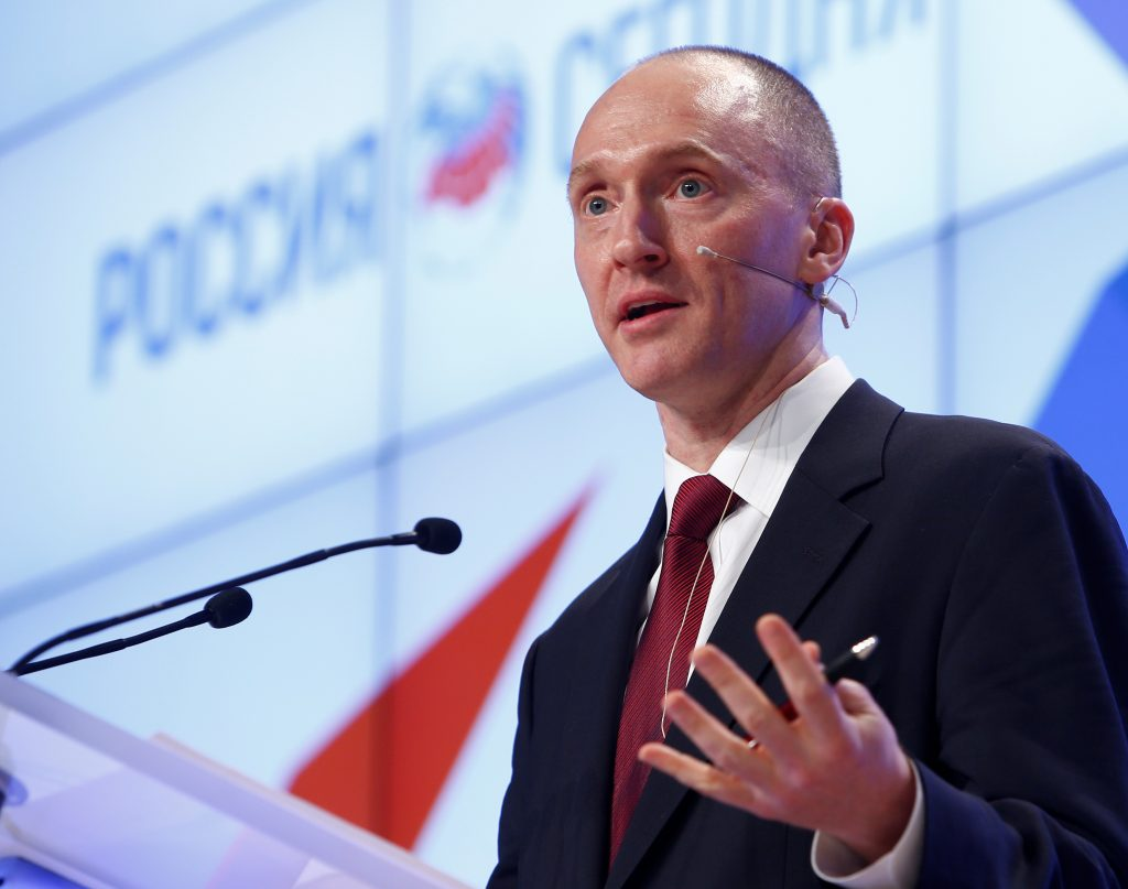 Carter Page, one-time advisor of president-elect Donald Trump, addresses the audience during a 2016 presentation in Moscow, Russia. Photo by Sergei Karpukhin/Reuters