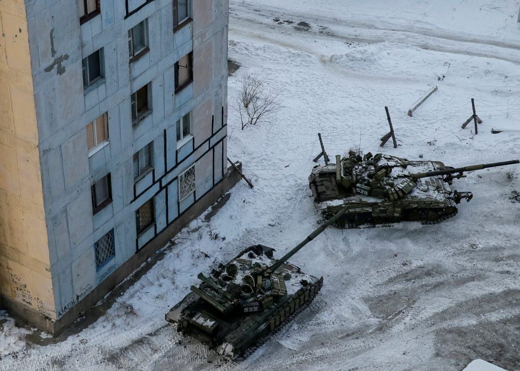 Tanks are seen in the government-held industrial town of Avdiyivka, Ukraine, on Feb. 1. Photo by Gleb Garanich/Reuters