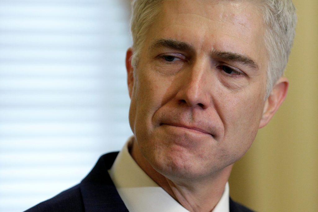 Supreme Court Nominee Judge Neil Gorsuch arrives for a meeting with Senate Majority Leader Mitch McConnell (R-KY) and U.S....