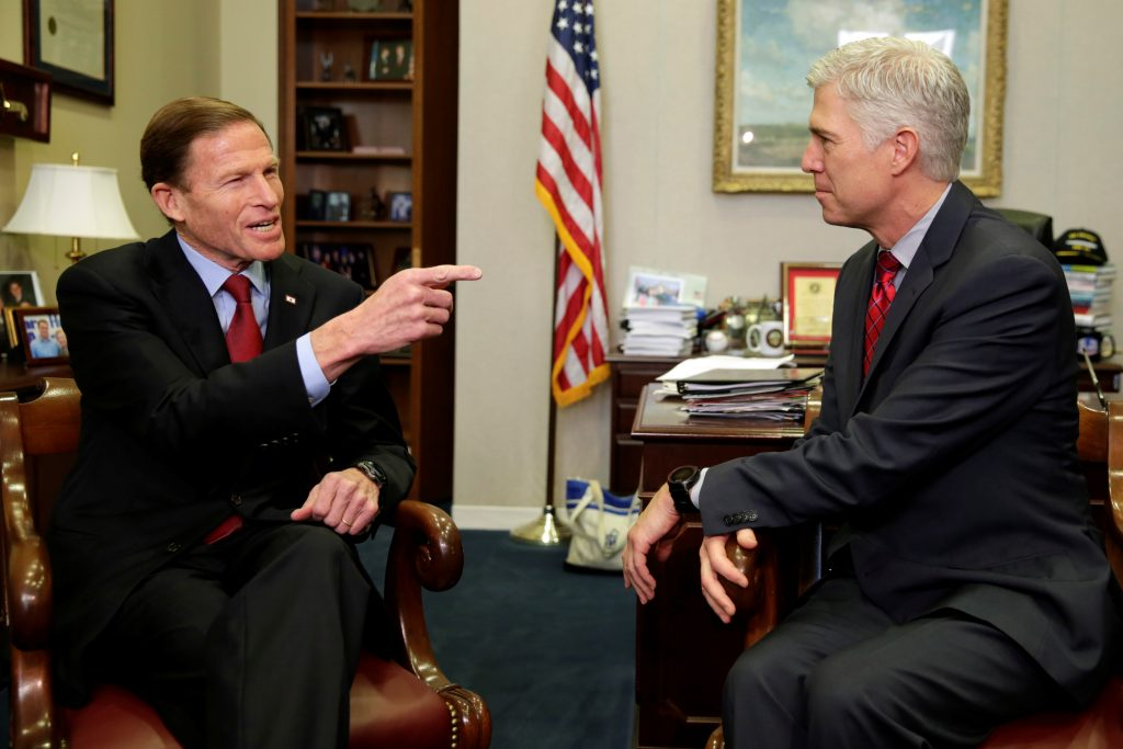 Gorsuch, right, meets with Senator Richard Blumenthal on Capitol Hill on February 8, 2017. Photo by REUTERS/Yuri Gripas