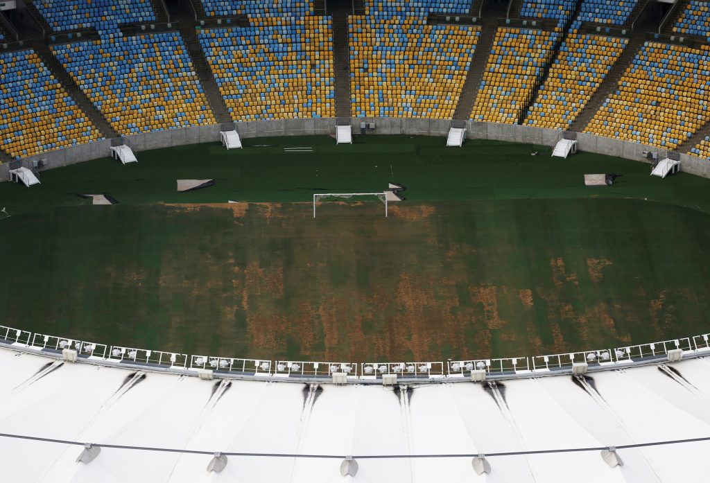 An aerial view of Maracana Stadium, which was used for the Opening and Closing ceremonies of the Rio 2016 Olympic Games, shows the turf being dry, worn and filled with ruts and holes, in Rio de Janeiro, Brazil January 12, 2017. Picture taken on Jan. 12, 2017. Photo by Nacho Doce/Reuters