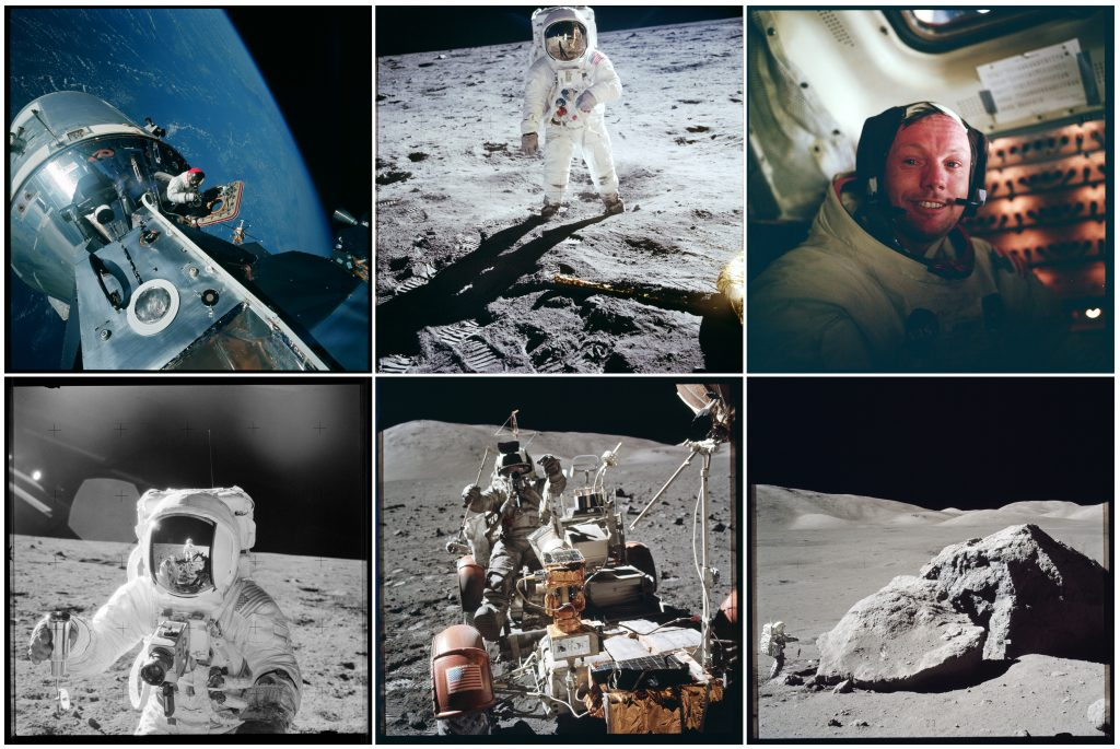 NASA handout photographs from the various Apollo missions between 1968 and 1972 are shown in this collage.  The photographs are some of more than 12,000 from NASA's archives aggregated on the Project Apollo Archive Flickr account.  Photo by REUTERS/NASA/Handout via Reuters.