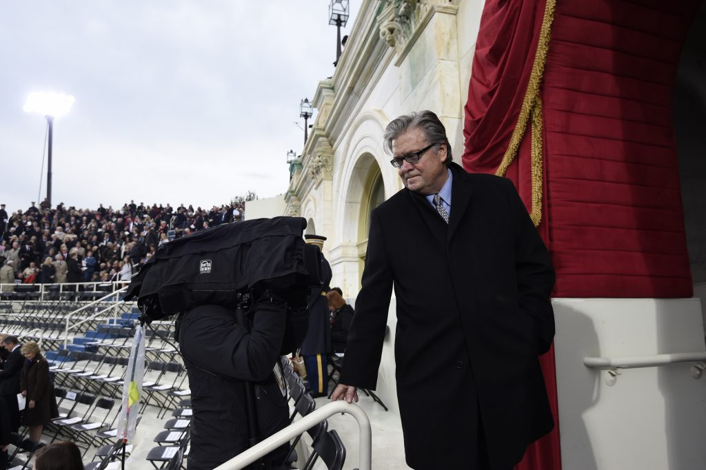 Steve Bannon, appointed chief strategist and senior counselor to President Donald Trump, arrives Jan. 20 for the Presidential Inauguration at the US Capitol in Washington, D.C. Photo by REUTERS/Saul Loeb/Pool.