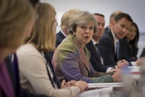 Prime Minister Theresa May holds a regional cabinet meeting Jan. 23 in Runcorn, Cheshire, as she launched her industrial strategy for post-Brexit Britain. Photo by REUTERS/Stefan Rousseau/Pool.