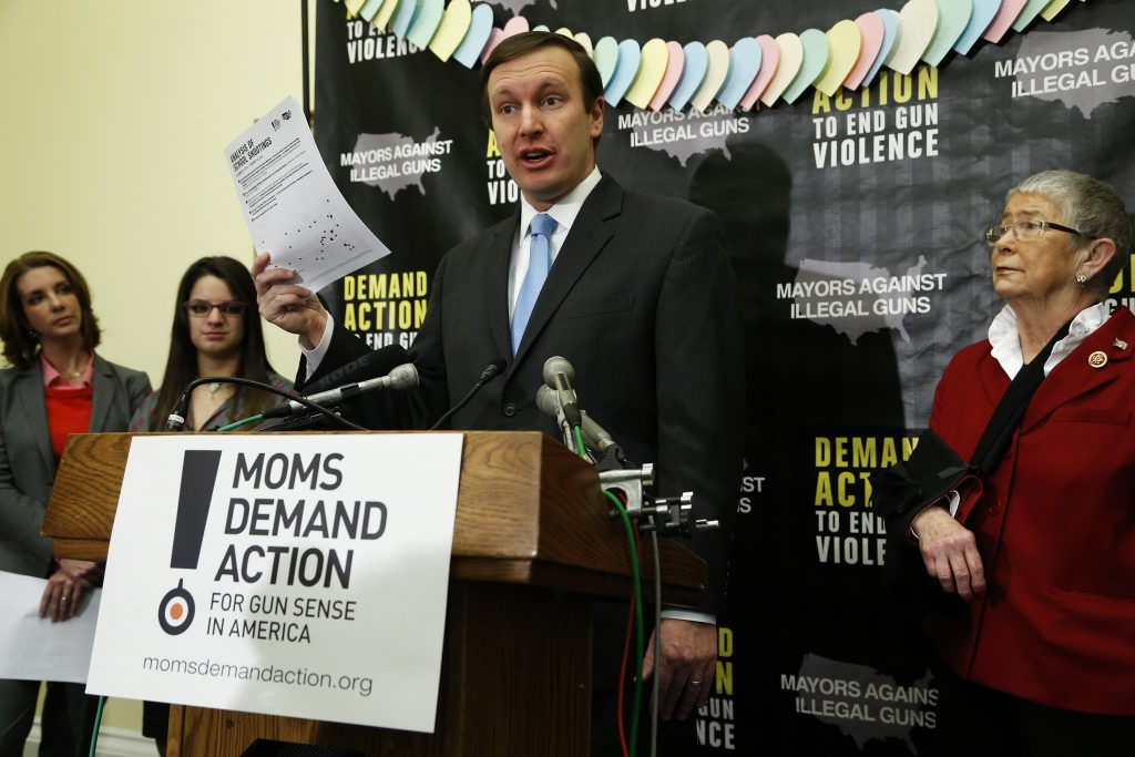 U.S. Senator Chris Murphy, of Connecticut, where a shooter opened fire on Sandy Hook Elementary school in 2012, speaks at a 2014 news conference by the groups Mayors Against Illegal Guns and Moms Demand Action for Gun Sense in America, in Washington, D.C. Photo by REUTERS/Jonathan Ernst.