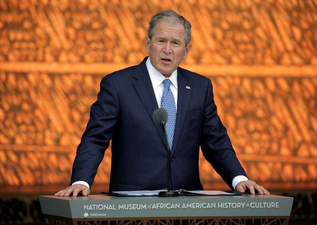 "Former U.S. President George W. Bush speaks during the Sept. 24 dedication of the Smithsonian's National Museum of African American History and Culture in Washington, D.C. In an interview with NBC's ""Today"" show Feb. 27, Bush said more information is needed about Russia and its possible connections to President Donald Trump's presidential campaign.    Photo by REUTERS/Joshua Roberts."