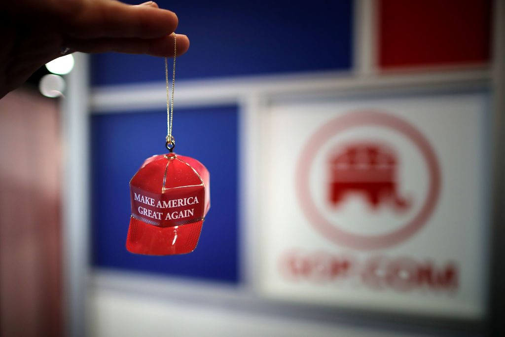 "Metal ""Make America Great Again"" Christmas ornaments are available for sale Feb. 23 during the first day of the Conservative Political Action Conference at the Gaylord National Resort and Convention Center in National Harbor, Maryland. Photo by Chip Somodevilla/Getty Images."