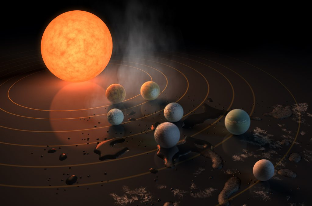 The TRAPPIST-1 star, an ultra-cool dwarf, has seven Earth-size planets orbiting it. Photo by NASA/JPL-Caltech