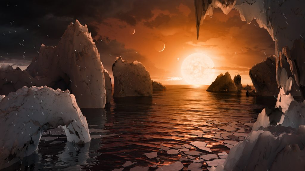 Imagine standing on the surface of the exoplanet TRAPPIST-1f. This artist's concept is one interpretation of what it could look like. Photo by  NASA/JPL-Caltech