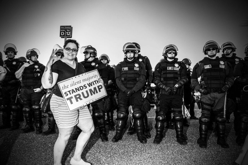 Police at a rally for Donald Trump June 1, 2016, in Sacramento, California. Credit: Mark Peterson/Redux