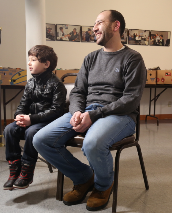 Syrian refugees Mohamad Taleb and his 7-year-old son Obaida, moved to the U.S. in 2015.