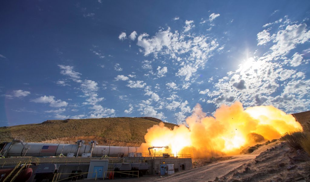 The SLS Five-Segment Solid Rocket Motor, that will launch NASA's Space Launch System and Orion spacecraft to deep space, undergoes a static test fire in 2016 at the Orbital ATK facility in Promontory, Utah.  Photo by NASA/Bill Ingalls/Handout via Reuters.