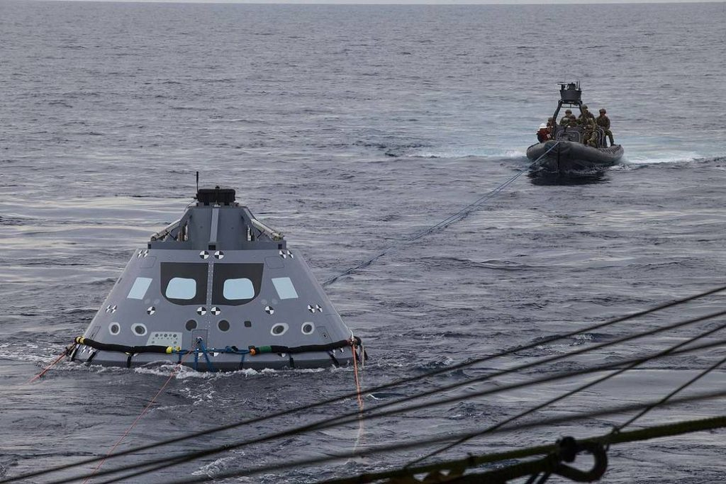 U.S. Navy divers practice for recovery of the Orion deep space capsule. Orion is one of the projects backed by the 2017 NASA Authorization Act. Orion is scheduled to launch on NASA's Space Launch System in late 2018. Photo by NASA
