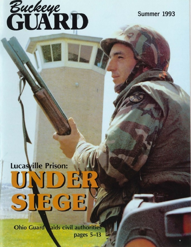 "Front page of ""Buckeye Guard,"" the Ohio National Guard's publication, on the summer of 1993 after the Lucasville uprising."