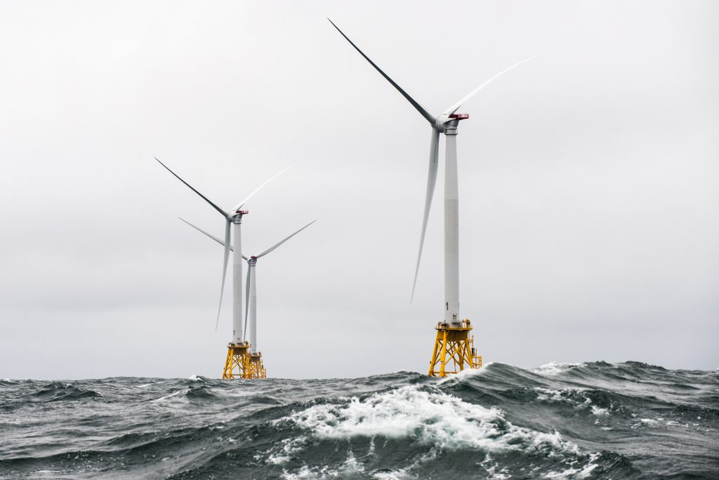 Heavy seas engulf Rhode Island's Block Island wind farm, the first U.S. offshore wind warm. Photo by Energy.gov/Flickr