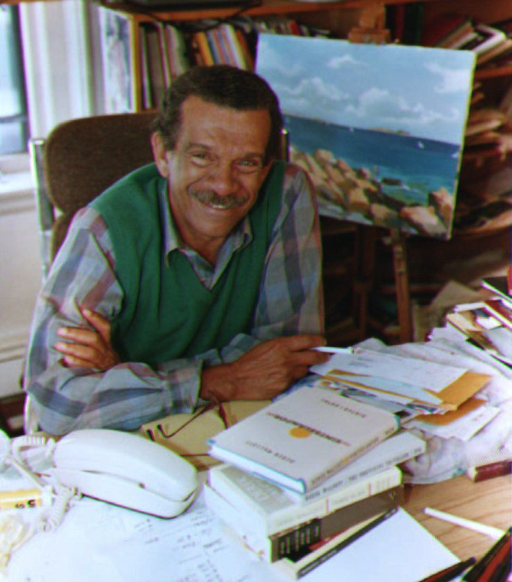 Derek Walcott, a Boston University English professor, sits in his home office in Brookline, MA after winning the Nobel Prize for Literature 08 October, 1992. Walcott, who was born in the West Indies, taught literature and creative writing.