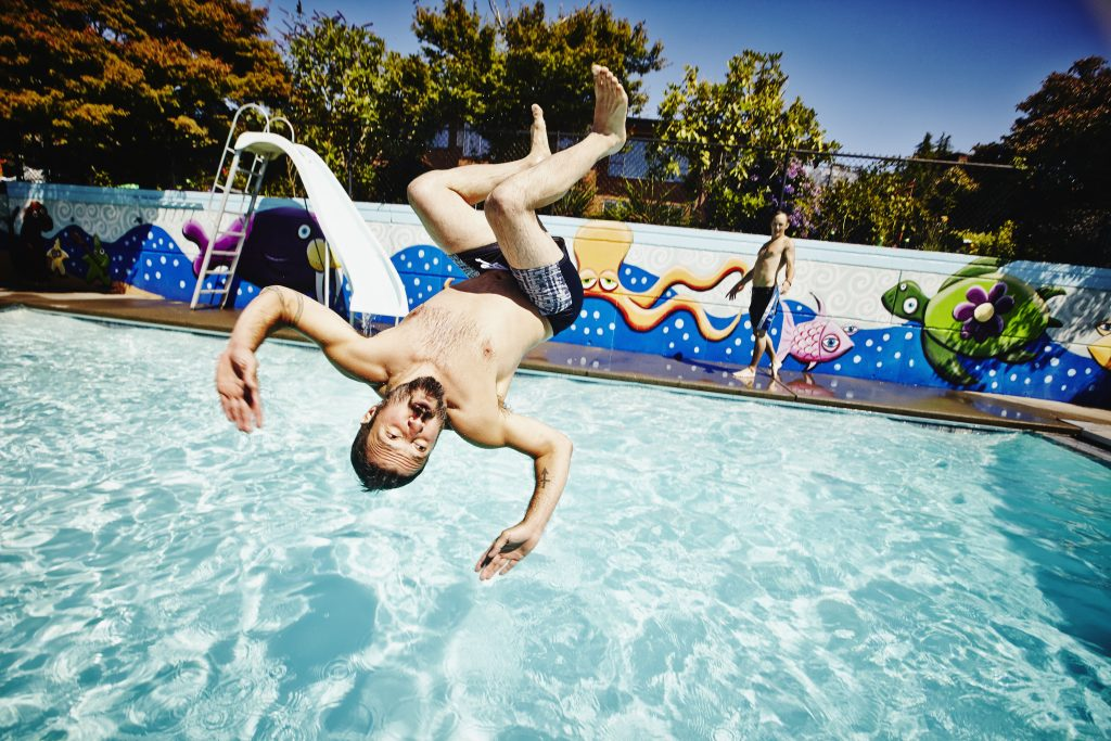 Environmental toxicologists at the University of Alberta, Edmonton have tallied how much pee is in commercial-sized swimming pools. Photo by Thomas Barwick/via Getty Images