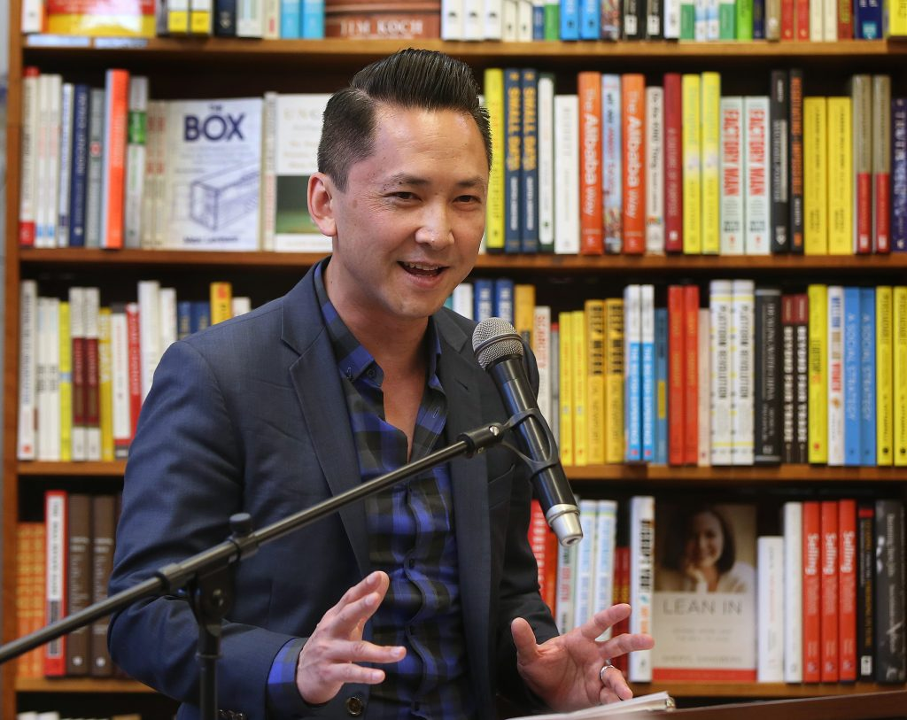 "Viet Thanh Nguyen appeared at a book reading and signing at the Harvard Book Store in Cambridge, Mass., on Monday, April 18, 2016. His debut novel, ""The Sympathizer,""  was announced as the winner of the 2016 Pulitzer Prize in Fiction earlier in the day. (Photo by Pat Greenhouse/The Boston Globe via Getty Images)"