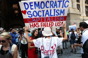 PHILADELPHIA, PA - JULY 25: Bernie Sanders supporters prepare to march through downtown on the first day of the Democratic National Convention (DNC) on July 25, 2016 in Philadelphia, Pennsylvania. The convention is expected to attract thousands of protesters, members of the media and Democratic delegates to the City of Brotherly Love. (Photo by Spencer Platt/Getty Images)