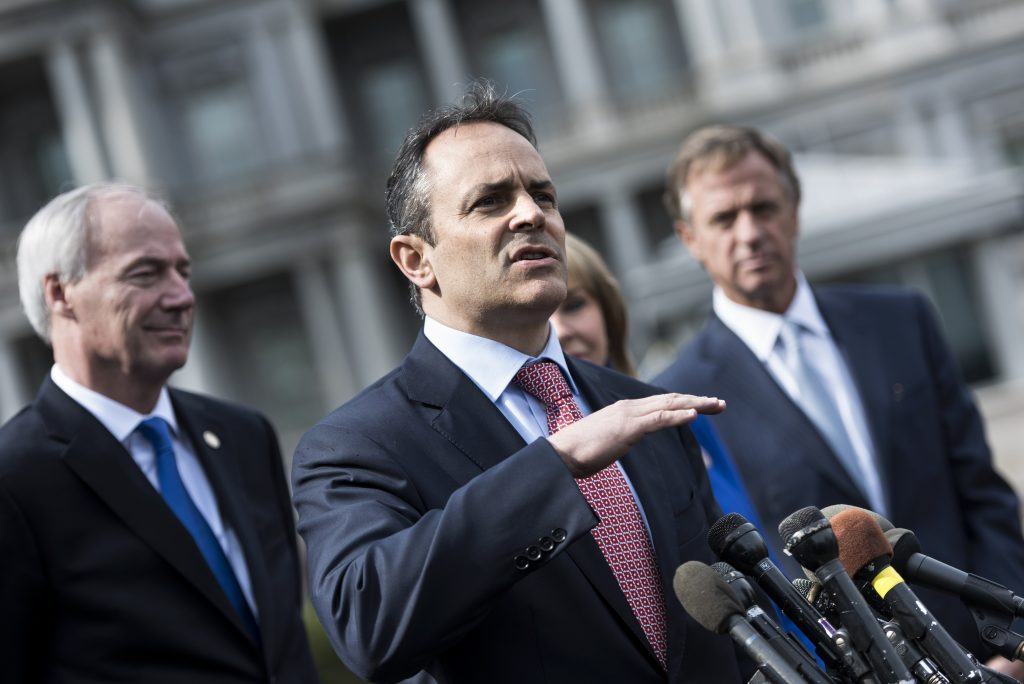 Kentucky Governor Matt Bevin makes a statement to the press after a meeting of the National Governors Association at the White House on February 27, 2017 in Washington, D.C. Photo by Brendan Smialowski/AFP/Getty Images