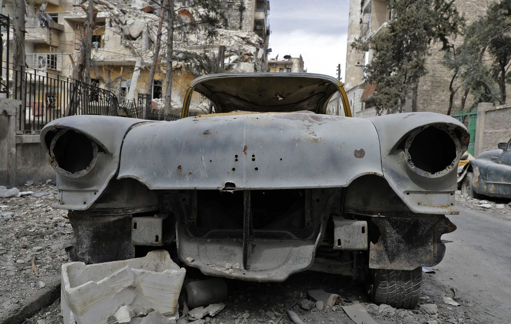 A beat-up 1948 Buick is part of Mohammed Mohiedin Anis' car collection. Photo by Joseph Eid/AFP/Getty Images