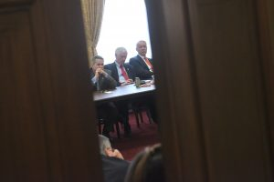Members of the Republican Freedom Caucus are seen in a meeting after coming back from the White House where they met with US President Donald Trump to discuss their vote on the Health care bill on March 23, 2017 at Capitol Hill in Wasghington, DC. US President Donald Trump held last-minute negotiations with fellow Republicans to avoid a humiliating defeat Thursday in his biggest legislative test to date, as lawmakers vote on an Obamacare replacement plan which conservatives threaten to sink. / AFP PHOTO / Brendan SMIALOWSKI (Photo credit should read BRENDAN SMIALOWSKI/AFP/Getty Images)