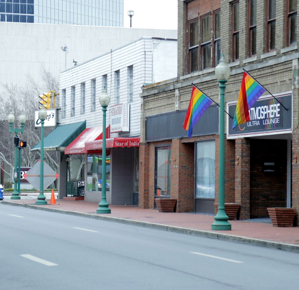 Rainbow flags hang outside the nightclub Atmosphere Ultra Lounge in Charleston, West Virginia, on