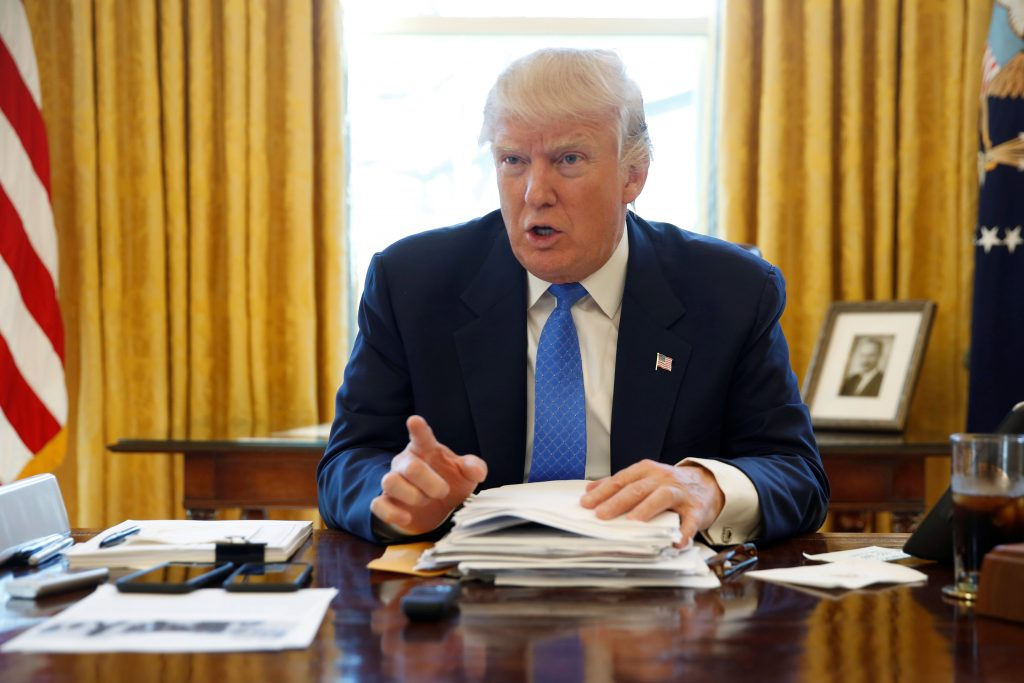 President Donald Trump in the Oval Office at the White House in Washington, D.C. Photo by REUTERS/Jonathan Ernst/File Photo.