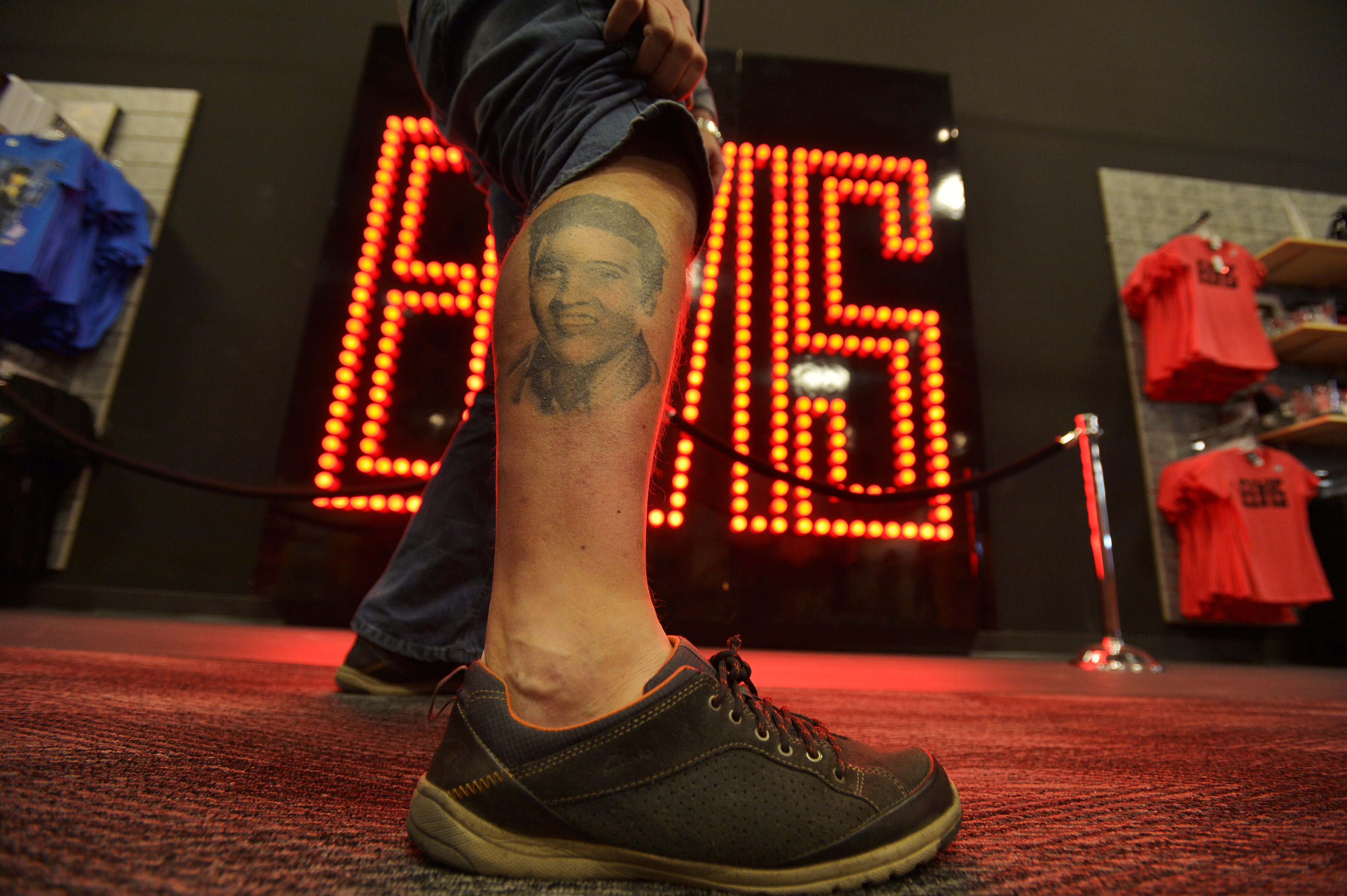 Paul Winter of the United Kingdom, shows off his tattoo of Elvis Presley during the grand opening of the new Elvis Presley's Memphis in Tennessee on March 2. Photo by Brandon Dill/Reuters