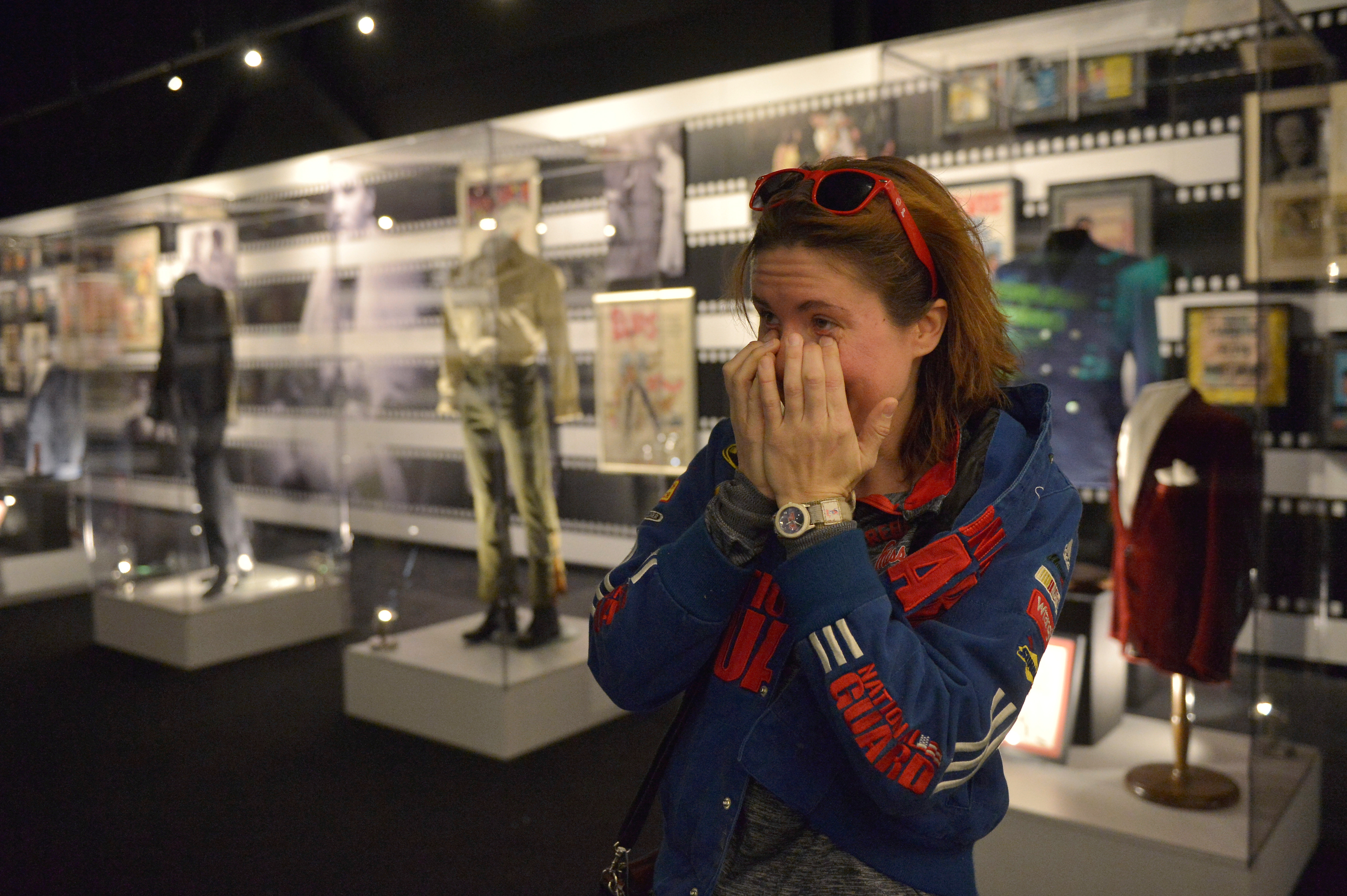 Laura Hallstrom of Olive Branch, Mississippi, tears up after meeting Priscilla Presley, Elvis' wife. Photo by Brandon Dill/Reuters