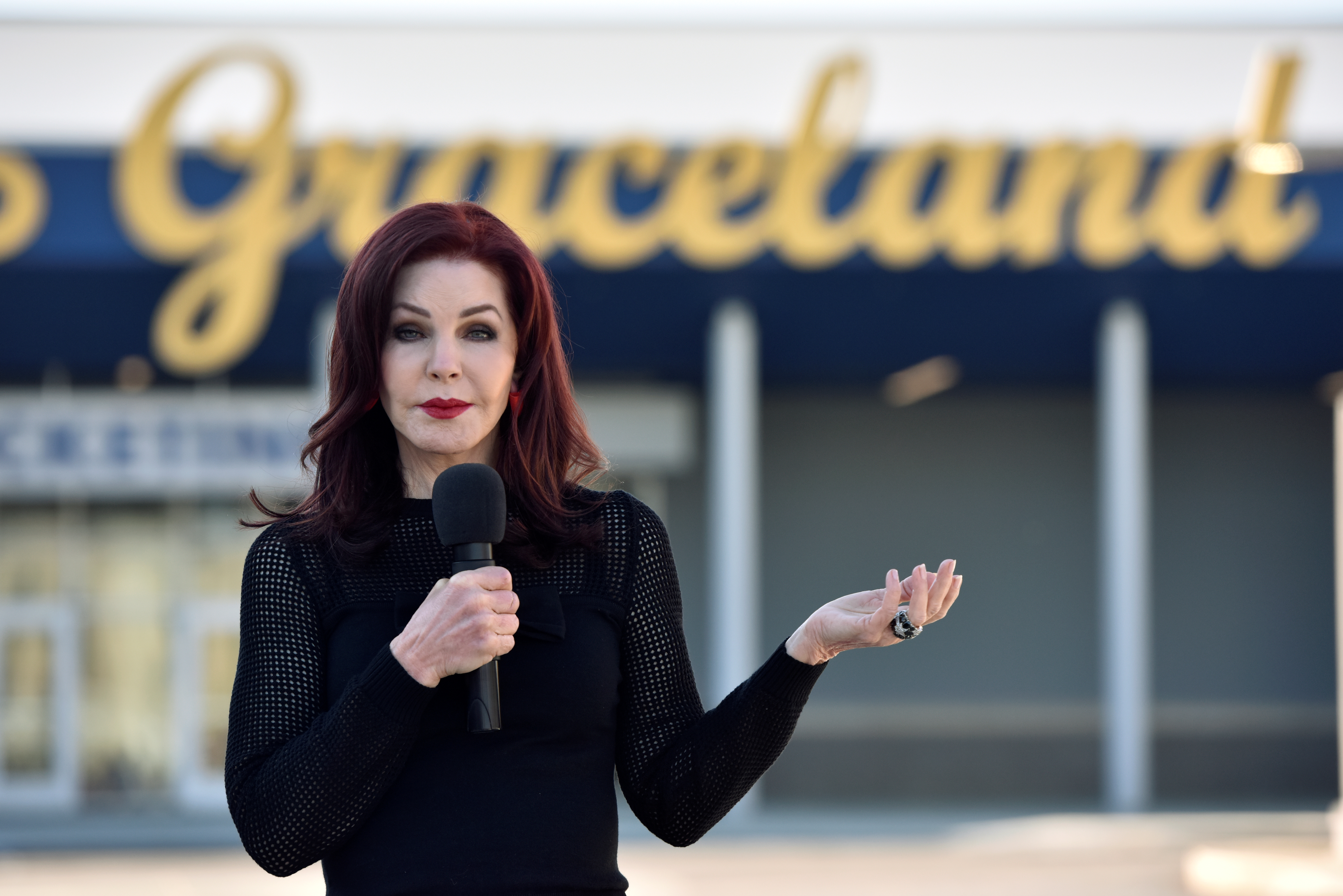 Priscilla Presley, wife of the late singer Elvis Presley, speaks to fans at the grand opening of the $45 million entertainment and museum complex in Memphis. Photo by Brandon Dill/Reuters