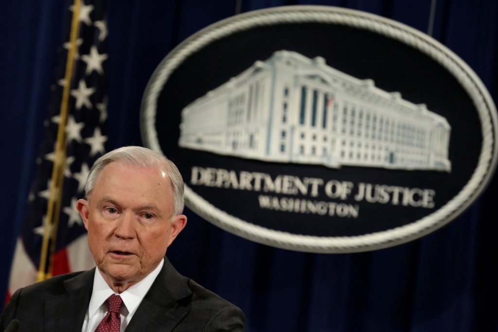 A file photo shows Attorney General Jeff Sessions speaking at a news conference at the Justice Department in D.C. Photo by Yuri Gripas/Reuters