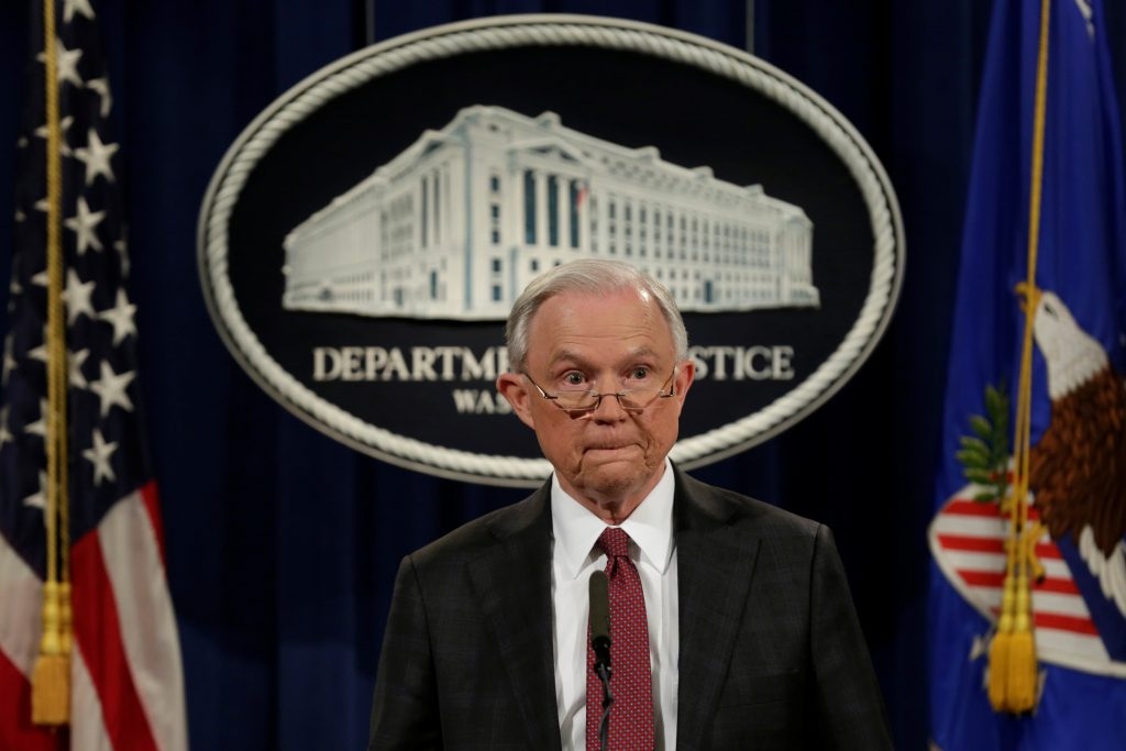 U.S. Attorney General Jeff Sessions pauses at a news conference Mar. 2 at the Justice Department in Washington, D.C. Photo by REUTERS/Yuri Gripas.