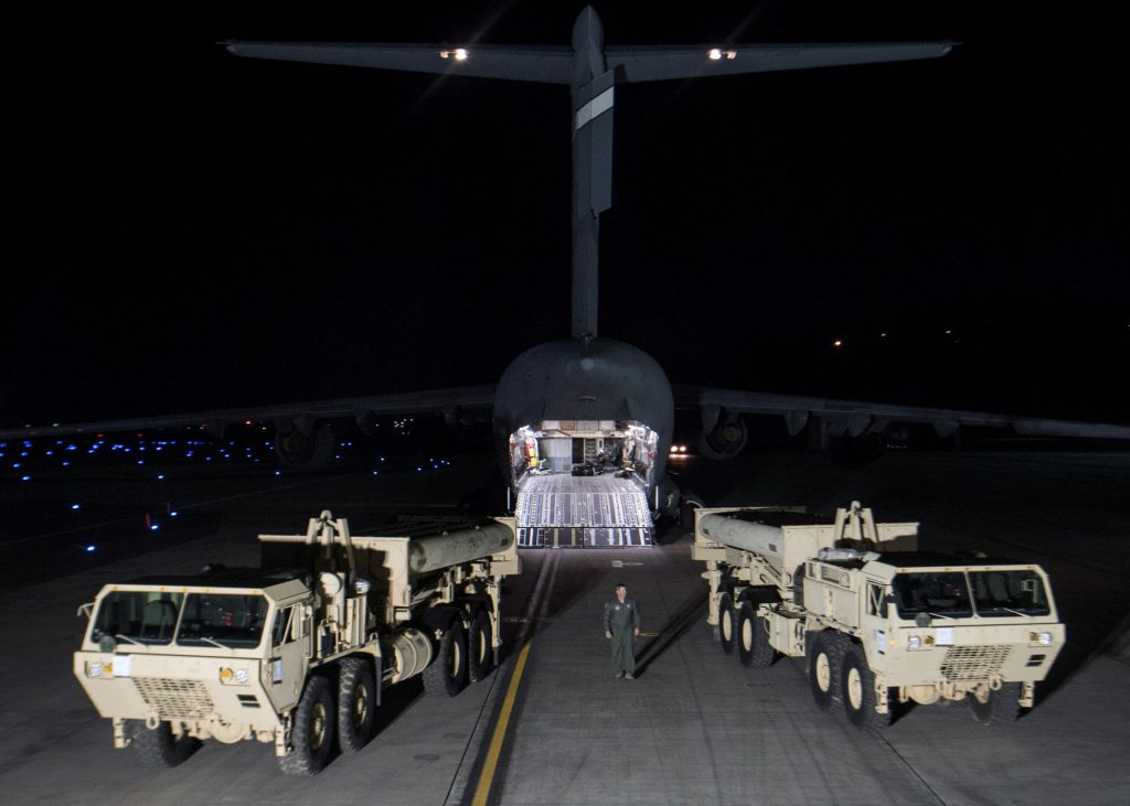 Terminal High Altitude Area Defense (THAAD) interceptors arrive at Osan Air Base in Pyeongtaek, South Korea, in this handout picture provided by the United States Forces Korea (USFK) and released by Yonhap on March 7 via Reuters.