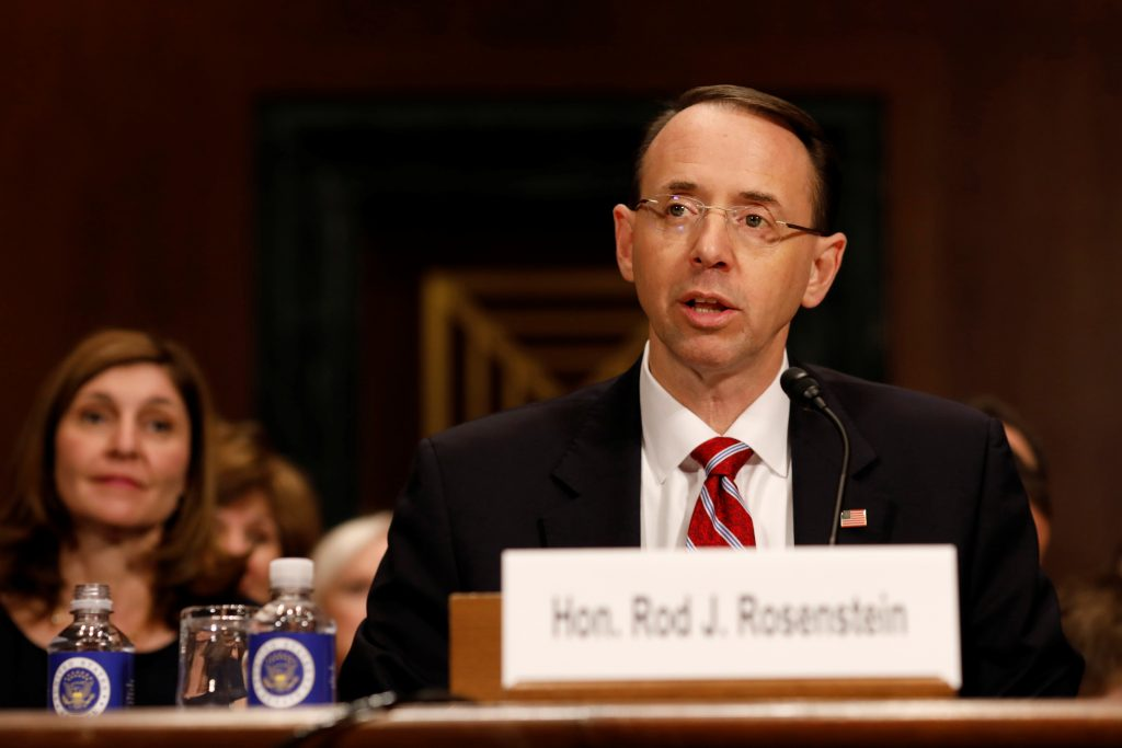 Rod Rosenstein, nominee to be Deputy Attorney General, testifies before the Senate Judiciary Committee in Washington, D.C. in March. Photo by Aaron P. Bernstein/Reuters