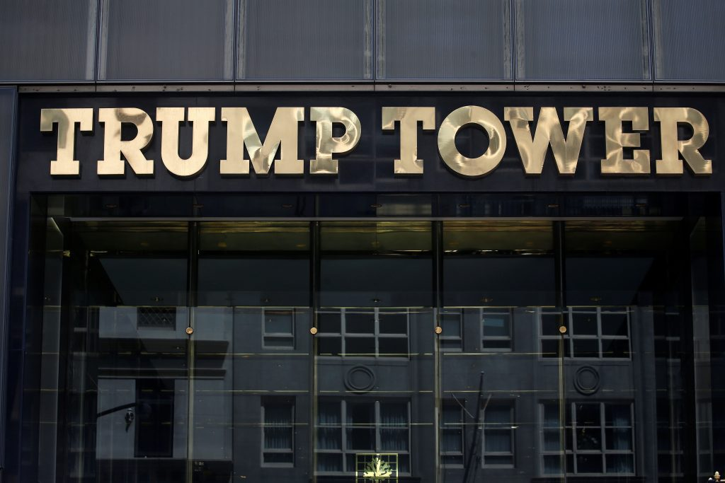 FILE PHOTO: The Trump Tower logo is pictured in New York, U.S., May 23, 2016. REUTERS/Carlo Allegri/File Photo - RTS1220L