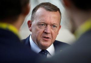 Denmark's Prime Minister Lars Lokke Rasmussen talks to reporters during the European Union summit in Brussels, Belgium. Photo by Yves Herman/Reuters
