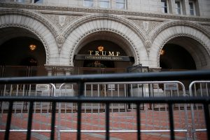 Security fences are seen outside the Trump International Hotel in Washington, U.S., January 19, 2017. Photo by Shannon Stapleton/Reuters