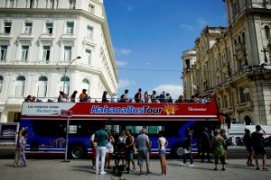 Tourists disembark from a tour bus in Havana, Cuba, on Feb. 10. Photo by Alexandre Meneghini/Reuters