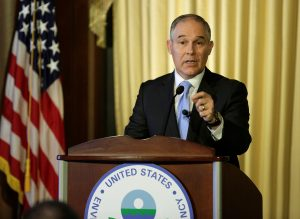 Scott Pruitt, administrator of the Environmental Protection Agency (EPA), speaks to employees of the Agency in Washington, U.S., February 21, 2017. REUTERS/Joshua Roberts - RTSZO8R