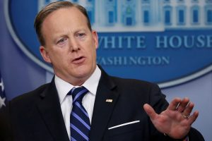 File photo of White House press secretary Sean Spicer by Jonathan Ernst/Reuters