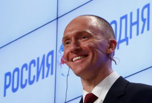 Carter Page, one-time adviser of Donald Trump, addresses the audience during a presentation in Moscow, Russia, in December. Photo by Sergei Karpukhin/Reuters