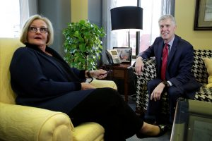 Supreme Court nominee Judge Neil Gorsuch (R) meets with Sen. Claire McCaskill (D-MO) on Capitol Hill in D.C. in February. Photo by Yuri Gripas/Reuters